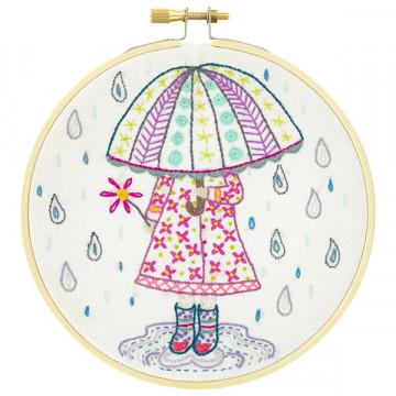 Kit broderie Emilie aime la pluie