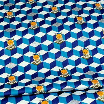 Tissu Echino Renard bleu