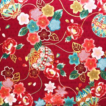 Tissu Fleurs japonaises rouge