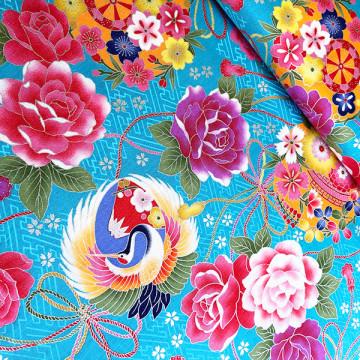 Tissu turquoise fleurs et...