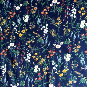 Tissu fleurs des champs Navy