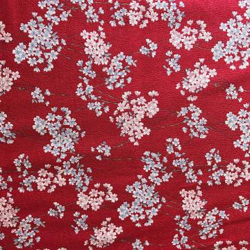 Tissu fleurs de Cerisier rouge