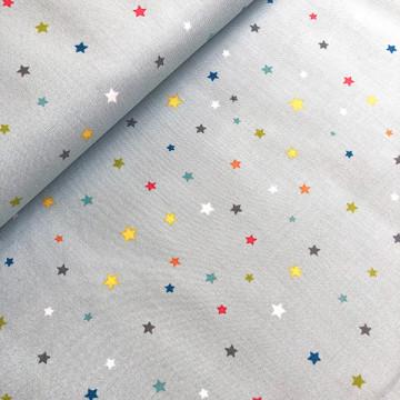 Tissu étoiles multi gris