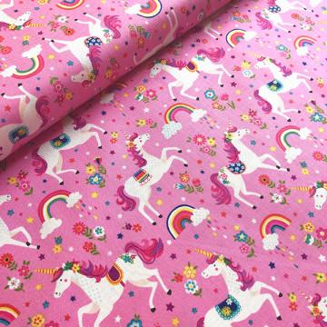 Tissu licornes rose