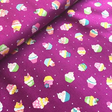 Tissu cupcakes lilas