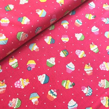 Tissu Cupcakes rose
