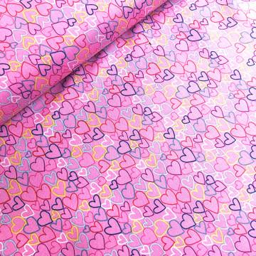 Tissu mille et un coeur rose