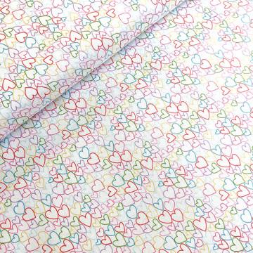 Tissu mille et un coeur blanc