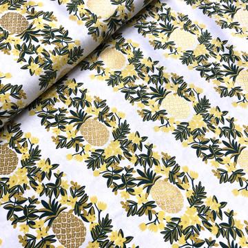 Tissu Ananas jaune métallisé
