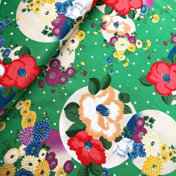 Tissu japonais Tsubaki Yukiarare vert de chez Kokka
