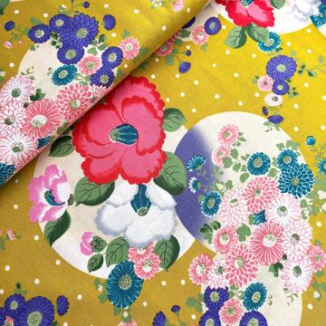 Tissu japonais Tsubaki Yukiarare jaune de chez Kokka