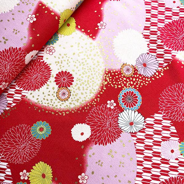Tissu japonais Kiku kin no hanabira rouge de chez Kokka