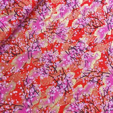 Tissu japonais sakura bayashi rouge de chez Kokka
