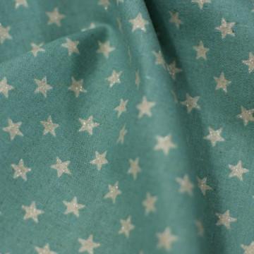 Tissu étoiles argentées sur fond bleu de chez Sevenberry