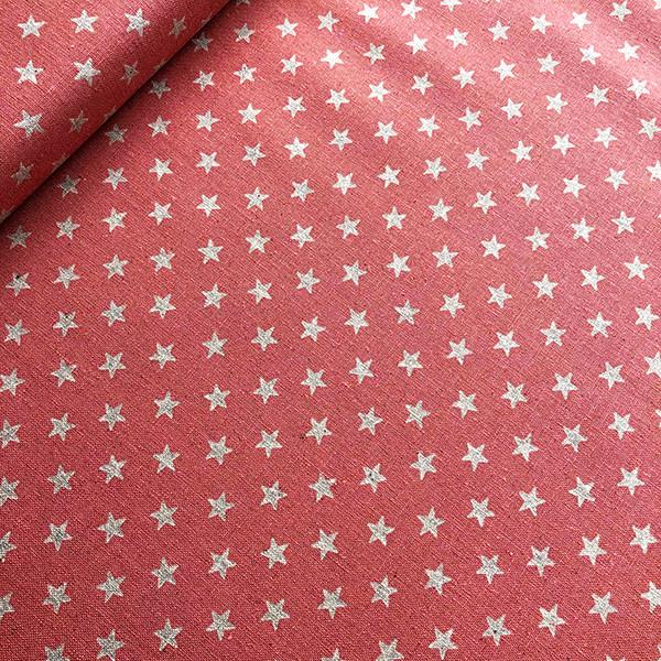 Tissu étoiles argentées sur fond rose de chez Sevenberry