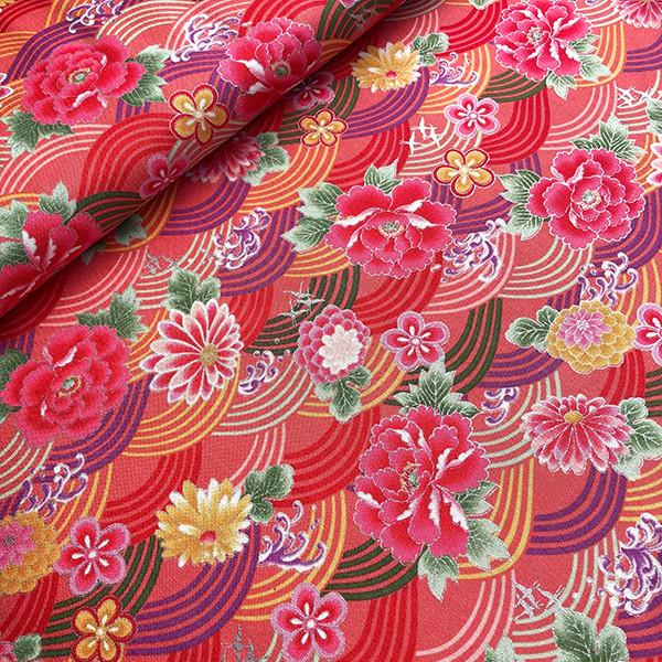 tissu japonais seigaiha fleurs rose de chez Kokka