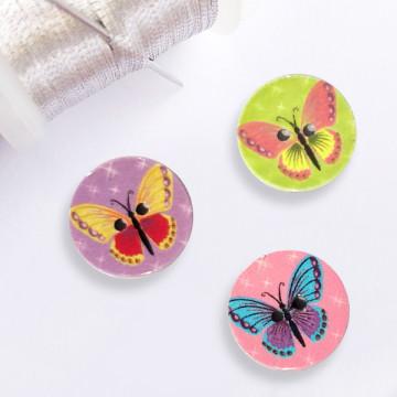 Bouton rond Papillon en résine
