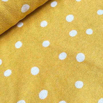 Tissu jaune Jersey à pois...
