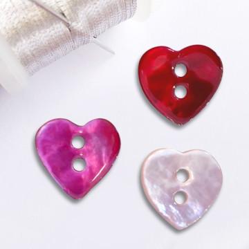 Bouton coeur en nacre