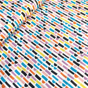Tissu Collage multicolore