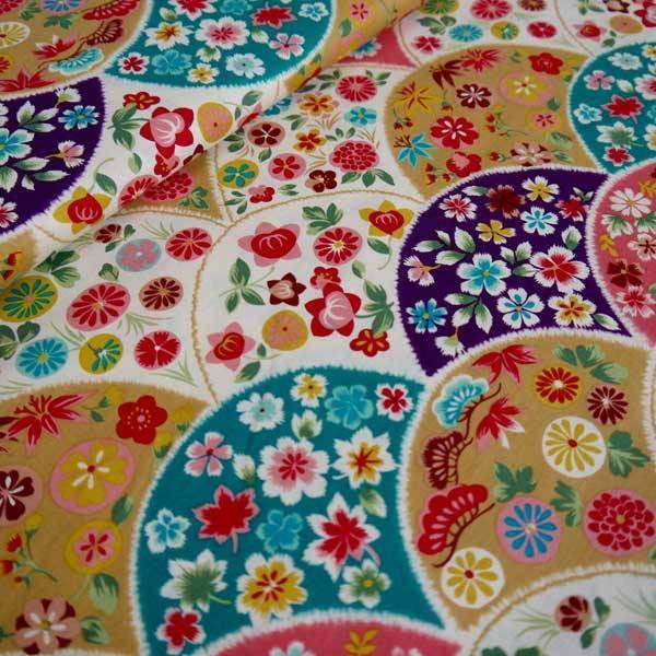 Tissu Flowery fan turquoise