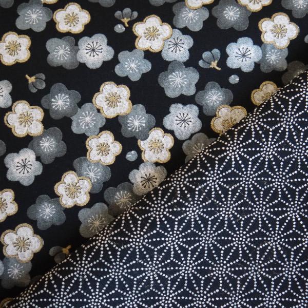 Tissu double face noir Sakura et Asanoha