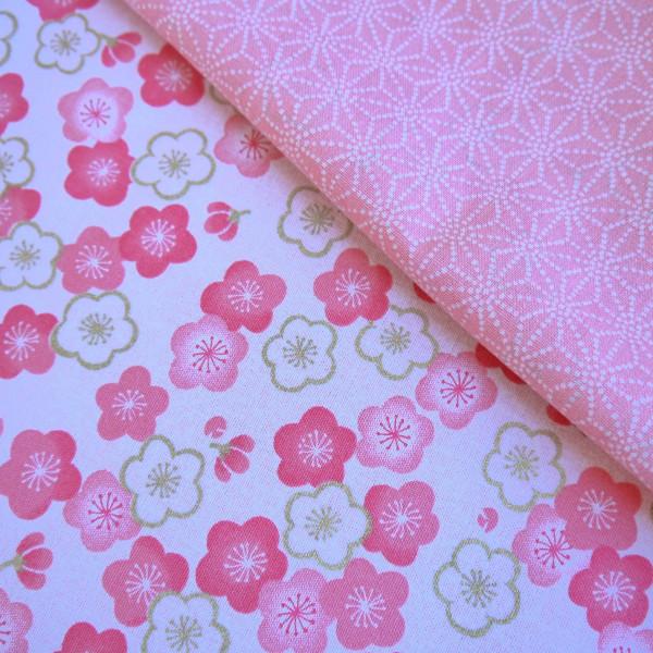 Tissu double face rose Sakura et Asanoha