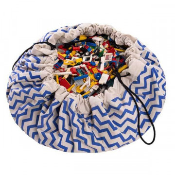 Sac à jouets zig zag Bleu