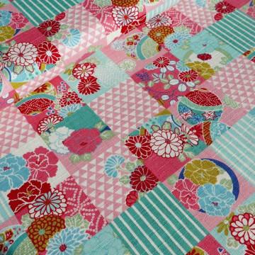 Tissu patch floral aqua pink
