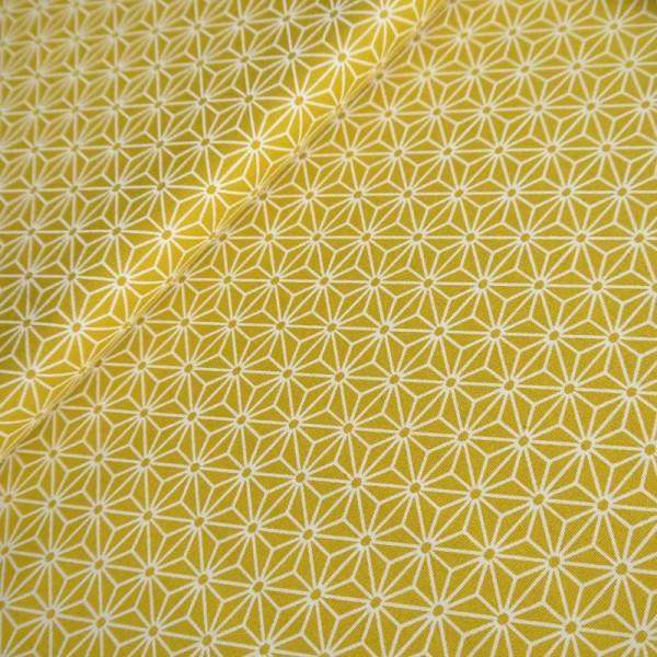 Tissu Asanoha moutarde