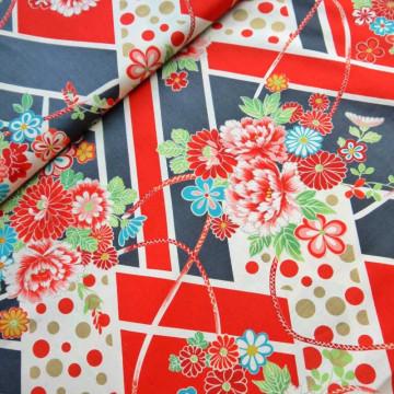 Tissu fleurs japonaises black