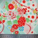 Tissu fleurs japonaises aqua