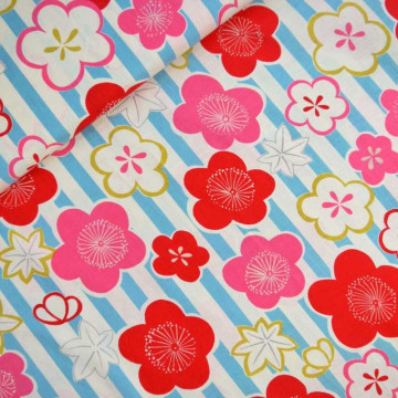 Tissu stripes japonais aqua