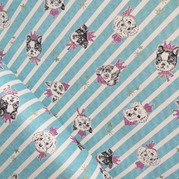 Tissu dogs stripes turquoise